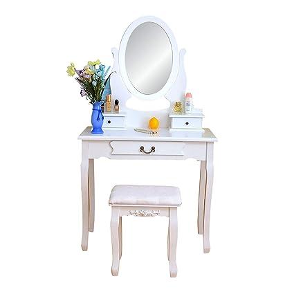 Amazon Com Vanity Dressing Table With Cushioned Stool 2 Storage