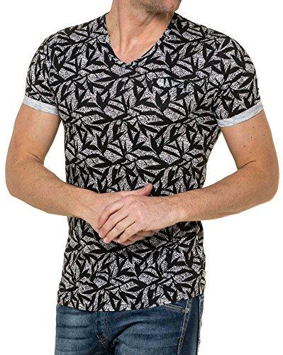 People Fleuri Et Col T shirt Imprimé American V Homme Noir Craquelé 1dTOqnzwx
