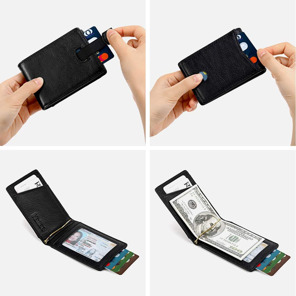 Extra Slim Card Wallet with Money Clip /& RFID Blocking for Men Kattee Genuine Leather Bifold Wallet for Men with Gift Box Fathers Day Gift