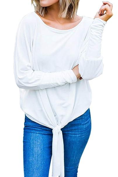 Maglietta Scollo a Barca Donna Moda Blusa Manica Pipistrello Camicetta con  Fiocco Pullover Inverno Oversize Tunica 61f4fd88aa8