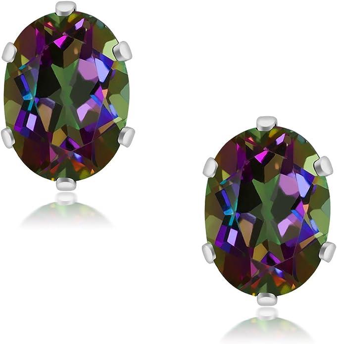 Mystic Topaz Oval 925 Silver Stud Earrings Indian Jewellery 8 x 10mm