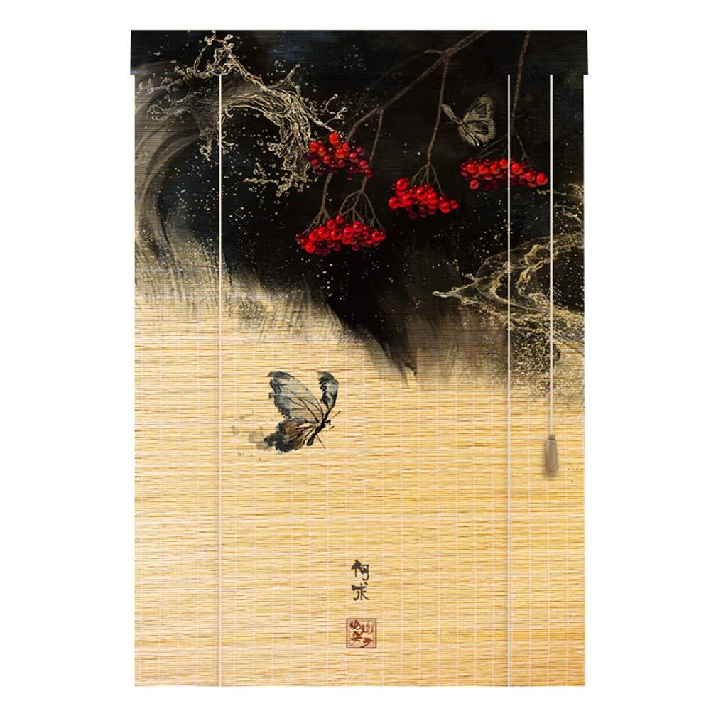 CAIJUN 竹ブラインド 竹 ールカーテン カスタマイズ可能 中国風の印刷 日よけ 日焼け止め デコレーション 屋内、 4色、 17サイズ (色 : C, サイズ さいず : 90x200cm) B07RKGVXJZ C 90x200cm