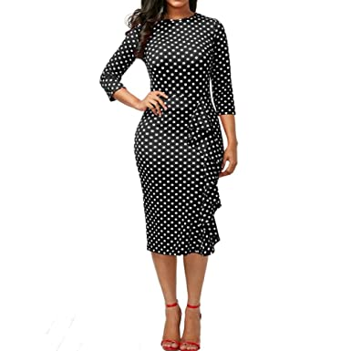 Damen Kleider Retro Abendkleider Longra Polka Dots Kleider Vintage ...