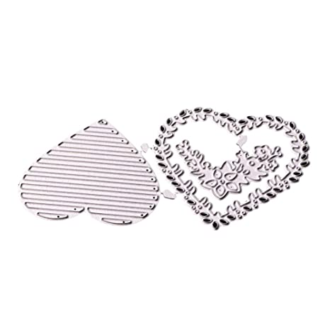 PeriwinkLuQ - Troquel de cortador de repujado con forma de corazón hueco, para tarjetas de