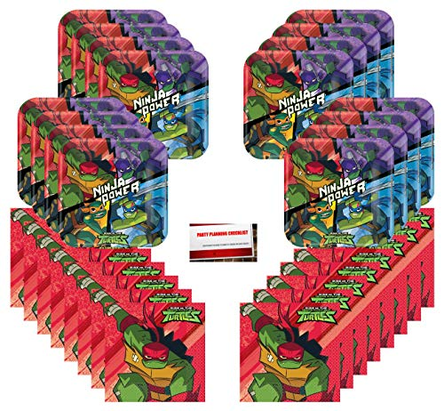 Teenage Mutant Ninja Turtles TMNT Birthday Party Supplies Bundle Pack for 16 Guests (Plus Party Planning Checklist by Mikes Super Store)]()
