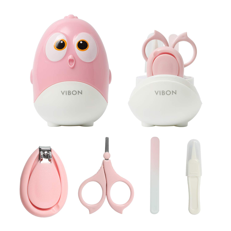 VIBON Bird Shape Baby Manicure Kit,Safe Baby bird Nail Clipper,Scissors,Tweezers and Nail File(4 Pcs),Baby Nail Care Set for Newborn,Infant,Toddler,Kids (Mistyrose)
