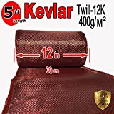 12'' x 5 FT Red- KEVLAR FABRIC-2x2 TWILL WEAVE-3K/220g