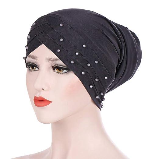 0f71fb19435 Amazon.com  XOWRTE Women Winter Beading Muslim Ruffle Cancer Scarf Turban  Wrap Cap Hat  Clothing
