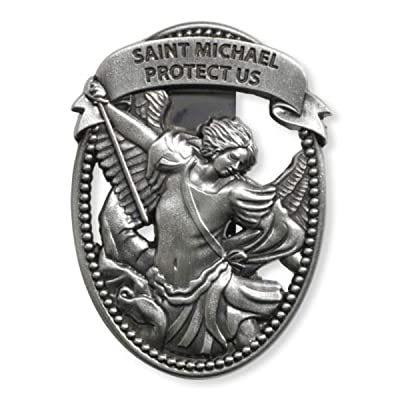 Sacred Traditions Silver Tone Zinc Alloy Archangel St Michael Protect Us Visor Clip, 2 1/4 Inch: Automotive