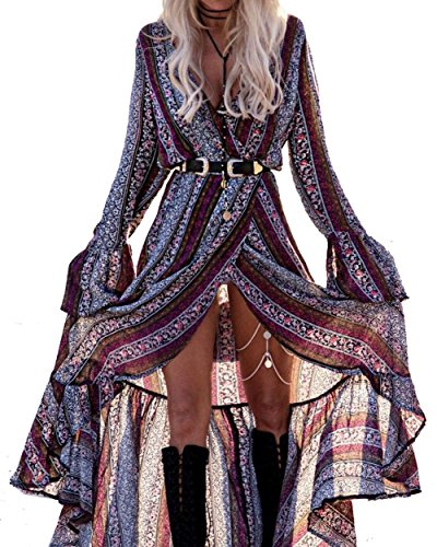 MorySong Women's Bohemian Long Sleeve V neck Split Vintage Print (Abstract Design Dress)