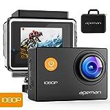APEMAN, telecamera Sport Action 12MP HD 1080p, impermeabile, ultra grandangolare da 170 ° con custodia impermeabile protettiva e kit di accessori per il montaggio