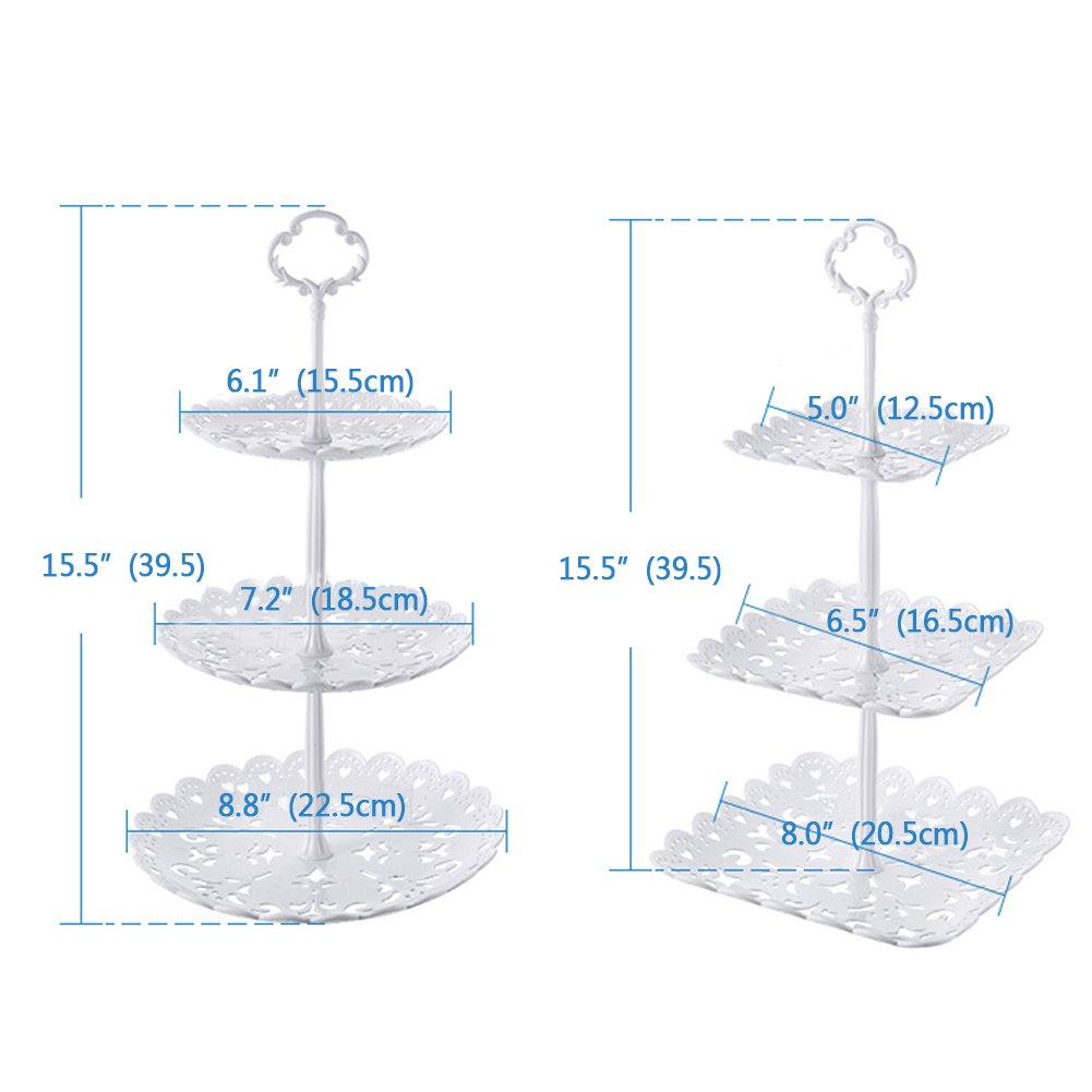 2 Set of 3-Tier Cake Stand and Fruit Plate Cupcake Plastic Stand White for Cakes Desserts Fruits Candy Buffet Stand for Wedding & Home & Birthday Party Serving Platter by Agyvvt (Image #2)