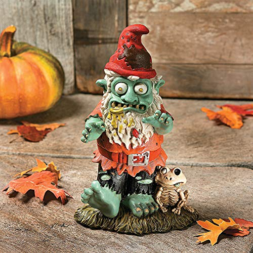Creepy Halloween Dead Walking Zombie Gnome Garden Statue Sculpture -