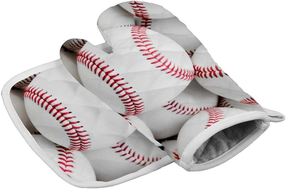 BBYSZ Baseballs Neoprene Oven Mitts Square mat, Heat Resistant Oven Gloves to Protect Hands and Surfaces with Non-Slip Grip