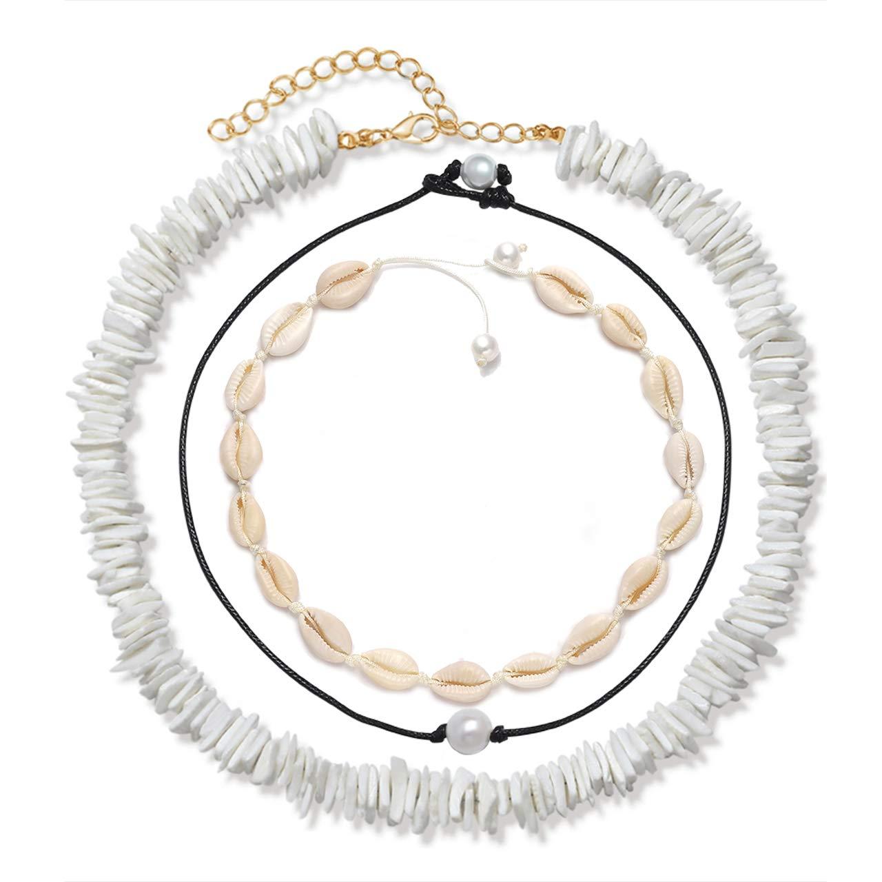 VOGUEKNOCK Shell Choker Necklace Mixed 3 Strands Puka Chip Shell Necklace Hawaii Beach Cowrie Seashell Necklace Pearl Choker Necklace Jewelry for Women Men (3 Strands Choker Set)