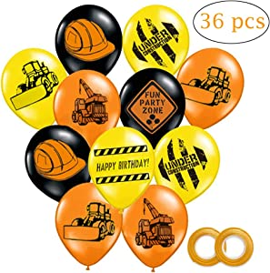 Construction Themed Balloons, 12 Inch Construction Zone Latex Balloons for Kids Construction Themed Birthday Party Decor, 36 Pack