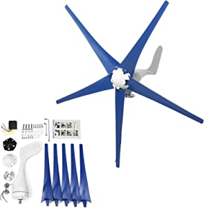 SUQIAOQIAO Wind Generator 1000W Hybrid Wind Turbine Generator Kit with Controller 5 Blades for Windmill Home RV Yacht Marine Farm