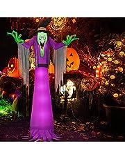 2,7m Halloween Opblaasbare Ghost, Kalolary Gigantische Enge Opblaasbare Heks met LED-licht voor Halloween Indoor Veranda Outdoor Garden Yard Decoraties