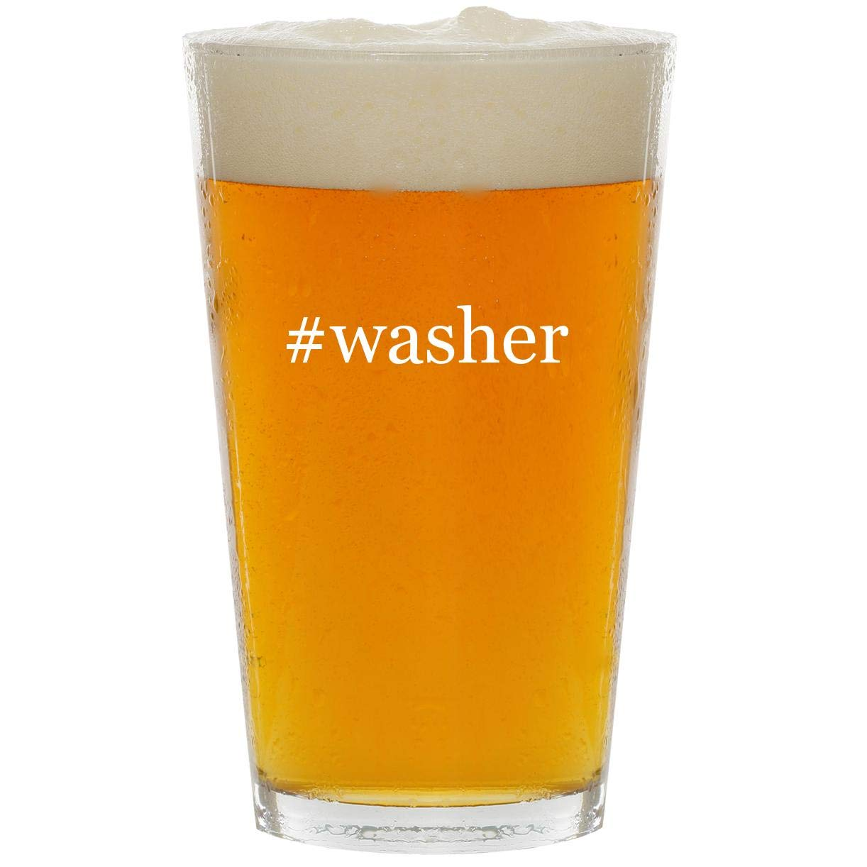 #washer - Glass Hashtag 16oz Beer Pint