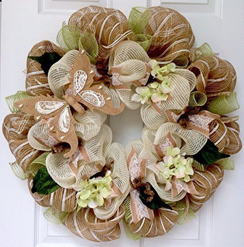 Burlap Lace and Pearls Butterfly Spring Wreath Handmade Deco Mesh