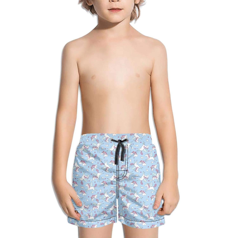 Ina Fers.Quick Dry Swim Trunks Love Cute Unicorns Clouds Rainbow Magic Wand Blue Shorts for Boys