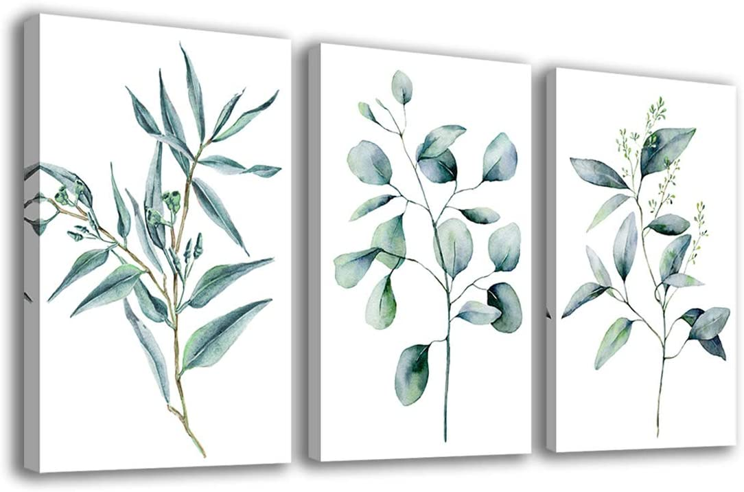 """Green Leaf Wall Art Eucalyptus Plants Contemporary Wall Art Canvas Pictures Modern Botanic Artwork Framed for Bathroom Bedroom Nursery Living Room Home Office Kitchen Wall Decor 16"""" x 24"""" 3 Pieces"""