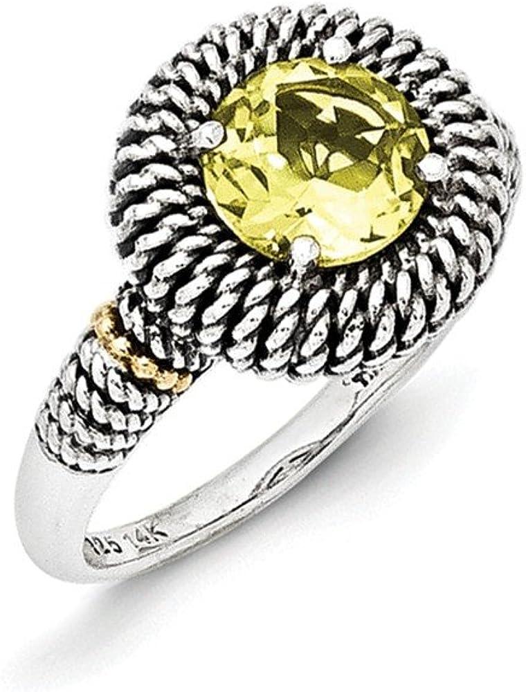 Sterling Silver with 14k Antiqued Lemon Quartz Ring