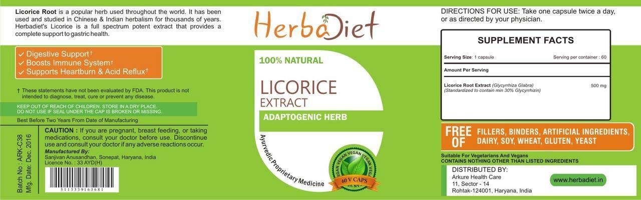 Licorice Liquorice Root Extract 30% 500mg Capsules Glycyrrhiza Glabra Digestive (2 Capsules)