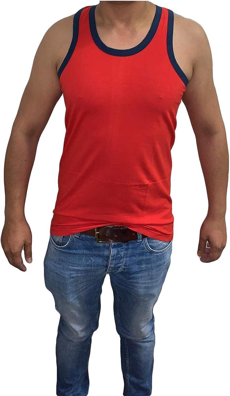 canottiera da uomo con tubazioni colorate tinta unita confezione multipla Bahob/®