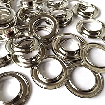 Pack of 100 x 16mm Silver Eyelets and 100 Washers - Set of Grommets for Clothing & Leather Crafts - Sewing and Haberdashery Trimming Shop