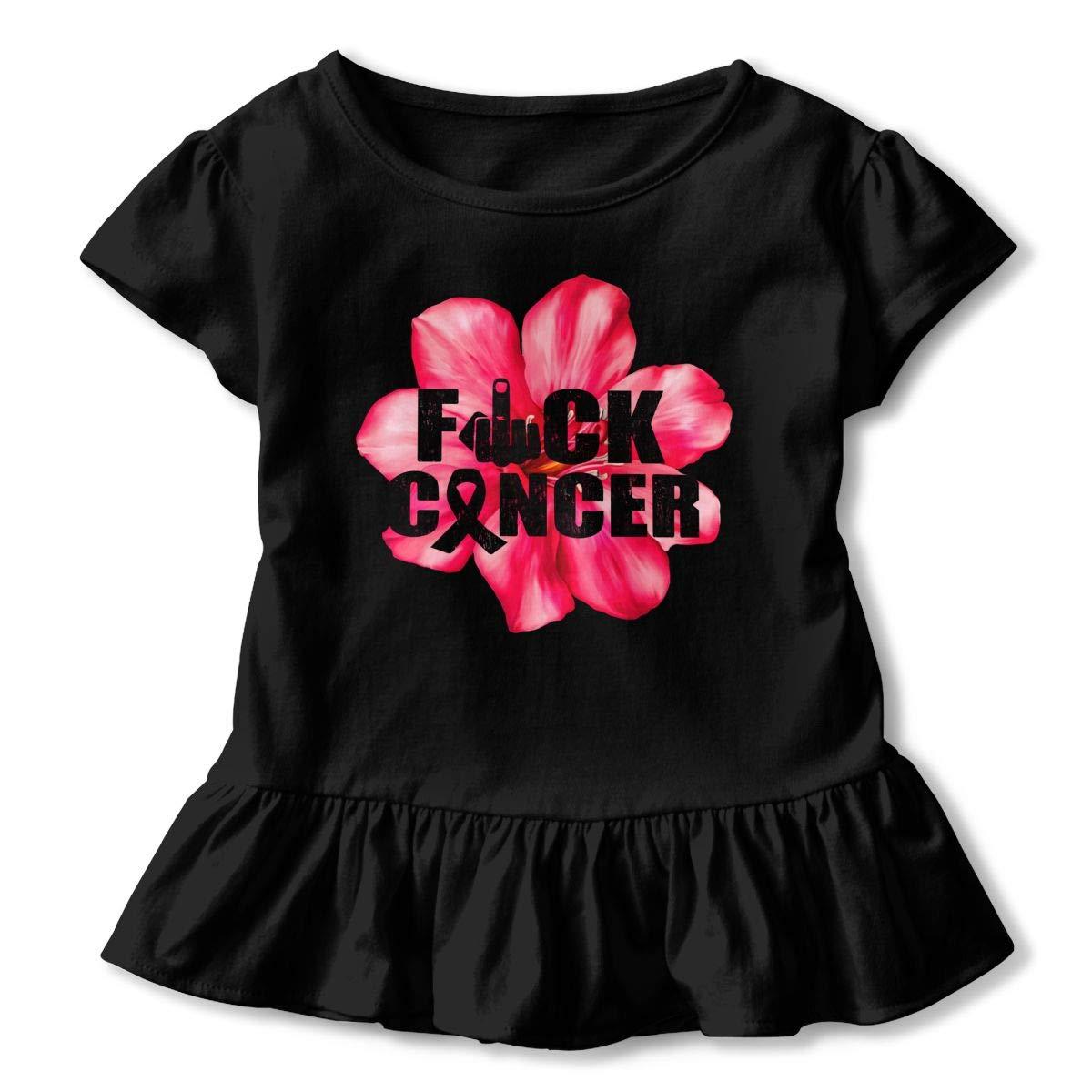 CZnuen Fuck Cancer Flower 2-6T Baby Girls Cotton Jersey Short Sleeve Ruffle Tee