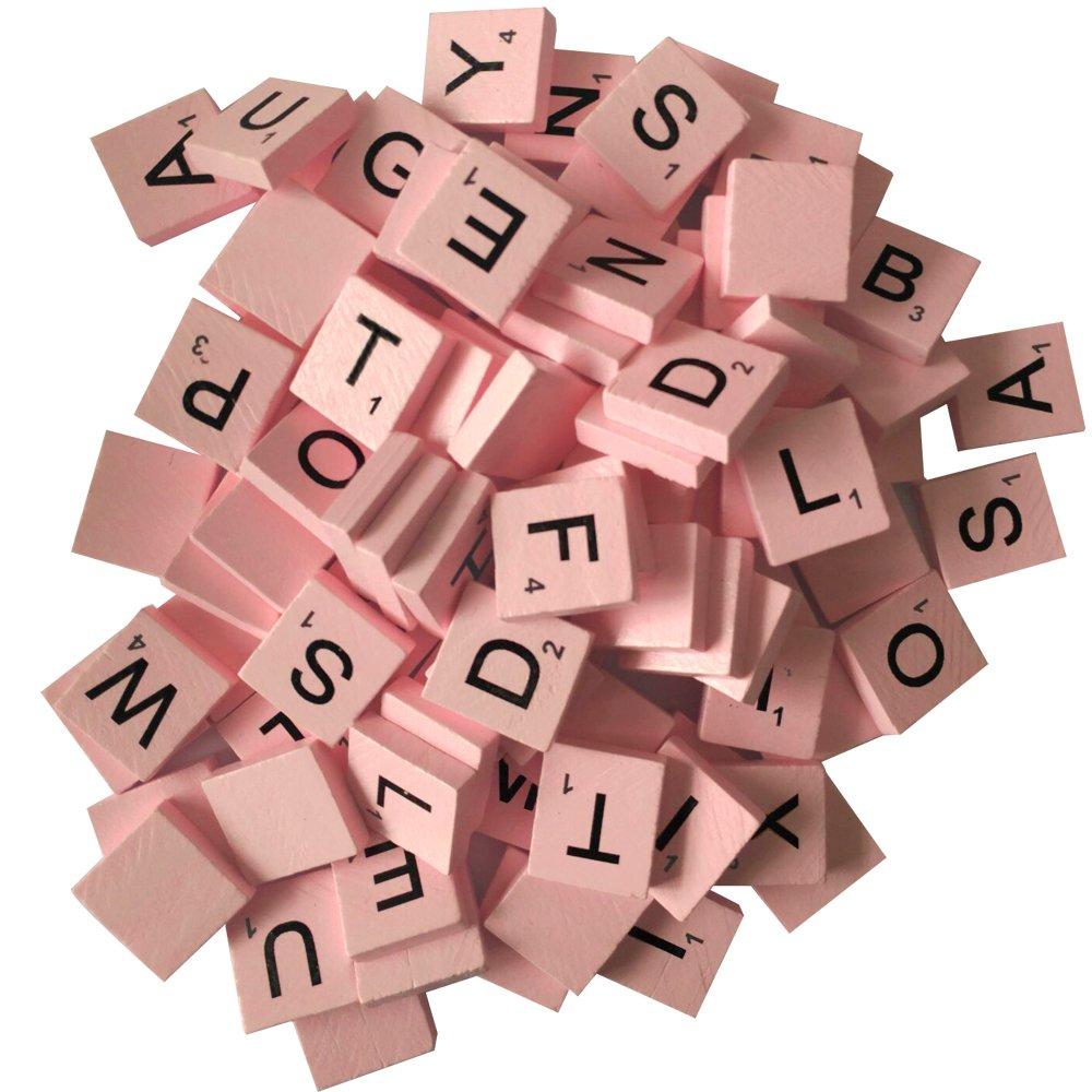 Amazon.com: 200 Wood Letter Scrabble Tiles - Pink Color - 2 Complete ...