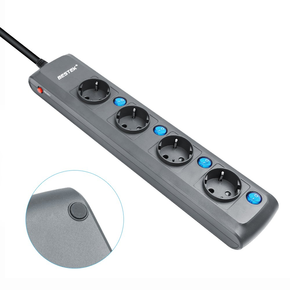 BESTEK Multiprise Rallonge Electrique 4 Prises avec 4 Interrupteurs individuels et Cordon de 1.8m 4000W//16A-Blanc