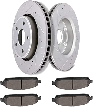 Rear Brake Rotors Ceramic Pads For 2005 2006 2007 2008 2009 2010 GRAND CHEROKEE