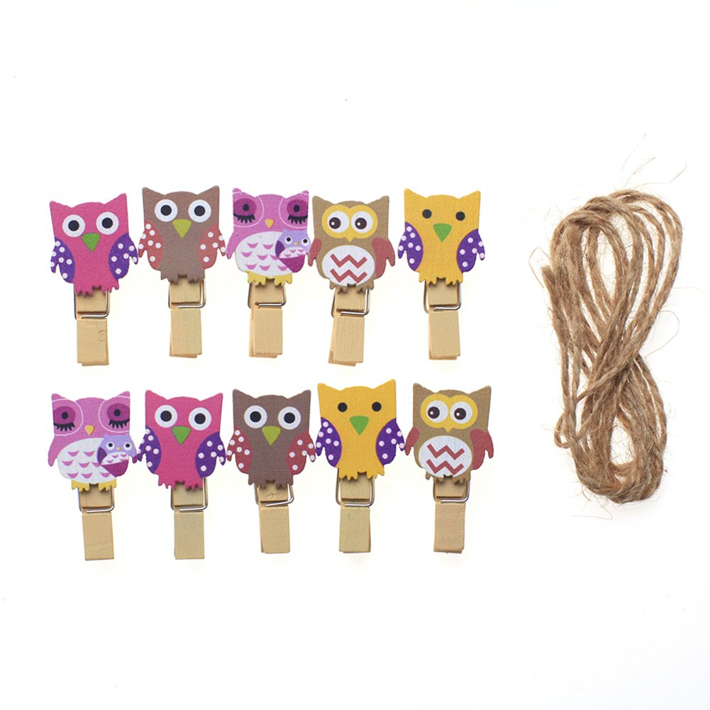 iTemer 10pcs Cute Peg Pin Owl Shape Wooden Craft Clips Clothespins Clip for Hanging Card Photo Paper with Jute Twine