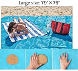 Getyic Sand Free Beach Mat, Sand Proof Mat is Easy to Clean and Dust Prevention,Big Size Fast Dry&Waterproof Events with Your Family for Summer Beach,Picnic,Hiking Blanket 79'' x 79''