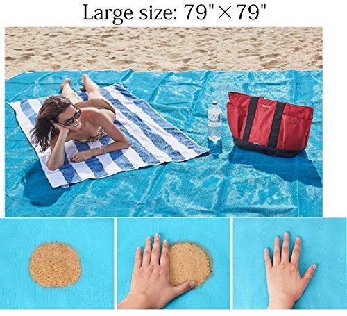 Getyic Sand Free Beach Mat, Sand Proof Mat is Easy to Clean and Dust Prevention,Big Size Fast Dry&Waterproof Events with Your Family for Summer Beach,Picnic,Hiking Blanket 79'' x 79'' by Getyic