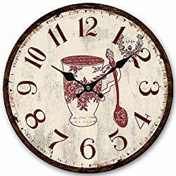 Antique Round Wall Clock, Eruner 14-inch Wooden Clock for Living Room Kitchen No Second Hands Design Flower Floral Pattern Vintage Style Office Hall Wall Clock