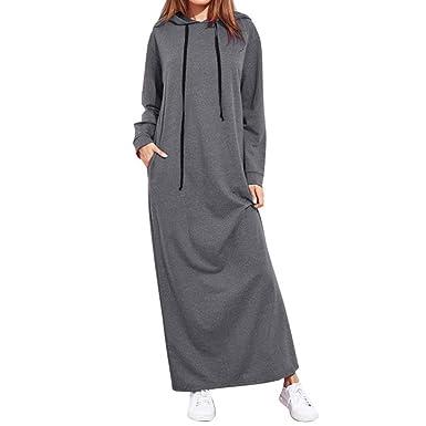 LeeY Damen Beiläufig Lose Maxi Kleid Lange Ärmel Einfarbig Mit Kapuze  Taschen Hemdkleid Lange Pullover Hoodies Frühling Herbst Stilvoll Lange  Kleider  ... e8402bf262