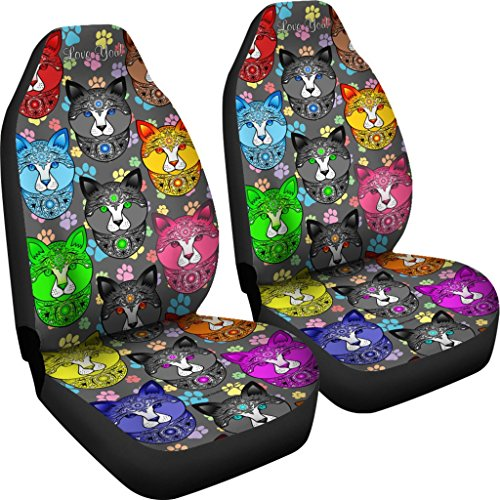 DealioHound Fancy Pants Cat (Rainbow) Microfiber Car Seat Covers/Protectors - Universal Fit (Set of 2) ()