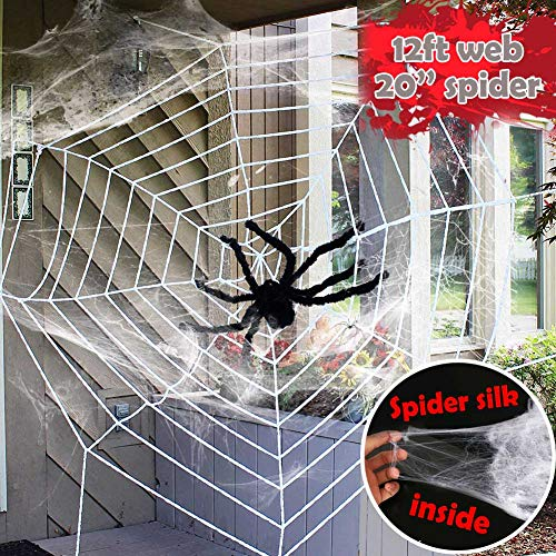 Easy Halloween Props (Halloween Decorations - 12 FT Giant Round Spider Web and Fake Large Hairy Spider Props Halloween Scary Yard Indoor & Outdoor Decor with Super Stretch Cobweb Set Halloween Party Favors)