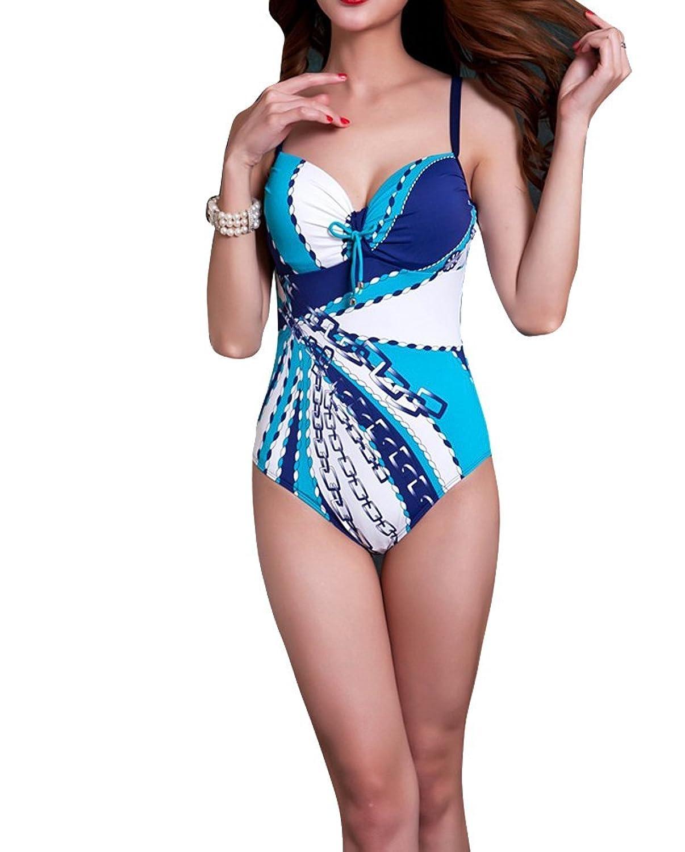 Purpura Erizo Damen Rückenpartie mit Zierausschnitt Gerafft Strandanzug