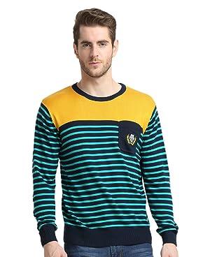 Men's Crewneck Striped Pullover Sweater Yellow L