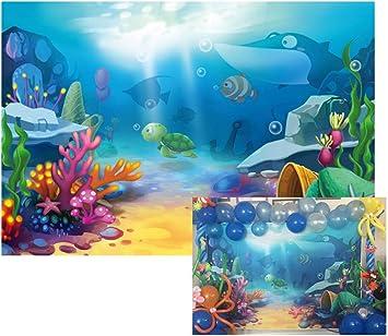 6x4ft Cartoon Underwater Coral Reef Backdrop Submarine Cavern Undersea View Sunshine Backgroud Marine Theme Baby 1st Birthday Photocall Summer Party Portraits Aquarium Fish Tank Wallpaper