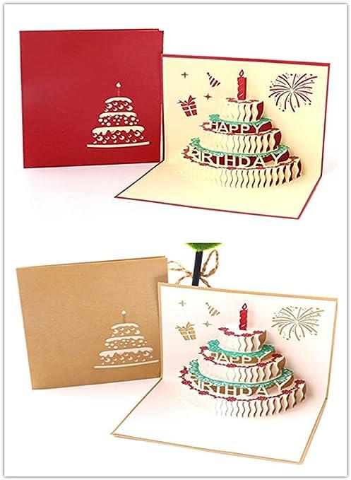 Rmeet Tarjeta de Cumpleaños Pop Up,2 Pack 3D Tarjeta de ...