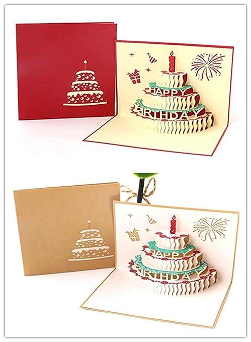 Rmeet Tarjeta de Cumpleaños Pop Up,2 Pack 3D Tarjeta de Felicitación para cumpleaños Paper Spiritz Feliz Cumpleaños para Mujeres Hombres Niños Niñas ...