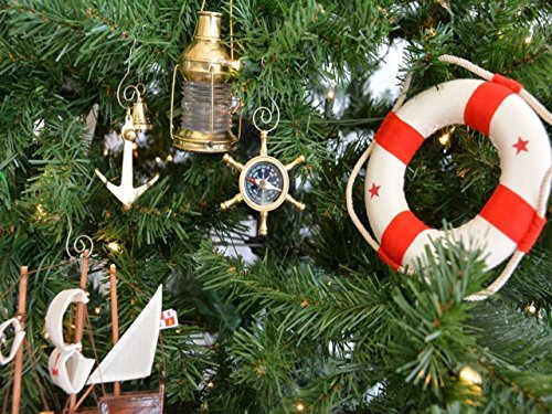 hampton nautical brass ship wheel compass nautical christmas tree ornament beachfront decor