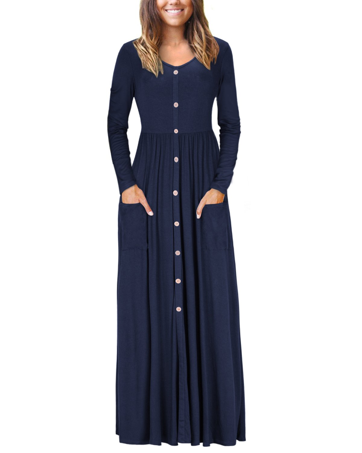 VOTEPRETTY Women's V-Neck Long Sleeve Casual Loose Maxi Long Dress with Pockets(Navy,L)