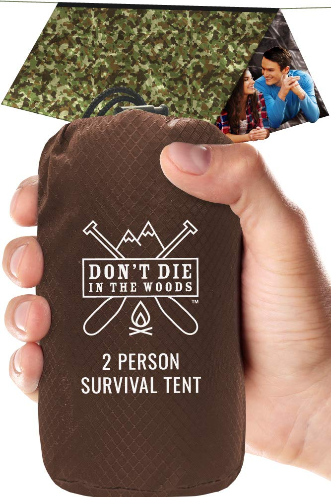 World's Toughest Ultralight Survival Tent • 2 Person Mylar Emergency Shelter Tube Tent + Paracord • Year-Round All Weather Protection For Hiking, Camping, & Outdoor Survival Kits (Camo) by Don't Die In The Woods