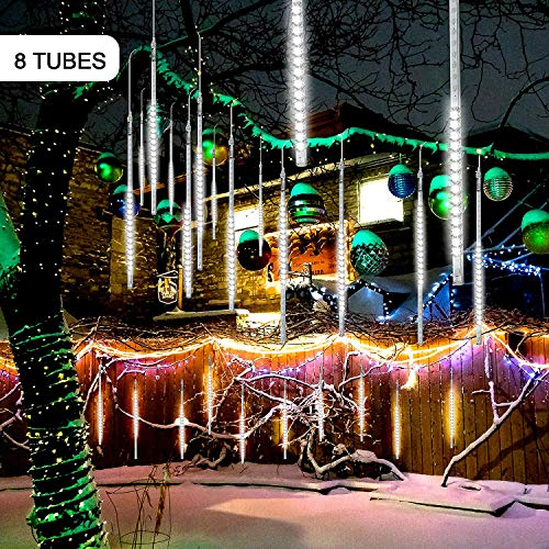 AcLiky Meteor Shower Lights, Rain Drop Lights Ultra Bright 128 LEDs 8 Tubes Falling Drip Lights Waterproof Romantic Cascading Icicle Lights for Wedding Xmas Tree Party Garden Home - White